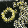 20g Beutel Preciosa Farfalle Perlen 2 x 4mm, Crystal Yellow Lined