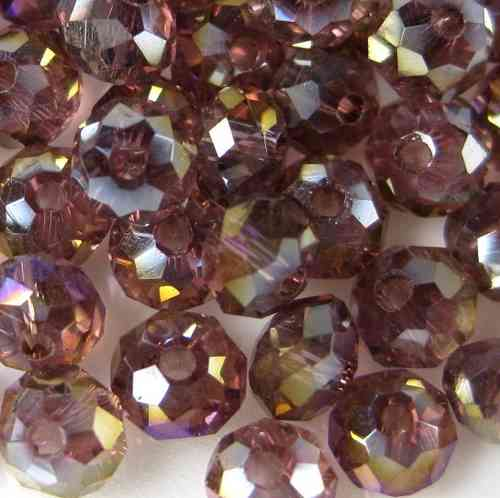 10 Stück orange Rondell 10x8mm Glasschliffperle