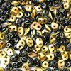 50g Beutel SuperDuo™ Duets Beads 2,5x5mm, Black/White Dark Travertin
