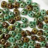 10g Beutel SuperDuo™ Duets Beads 2,5x5mm, Green Turquoise/Ivory Picasso