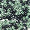 50g Beutel SuperDuo™ Duets Beads 2,5x5mm, Black/White Green Luster