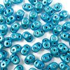 10g Beutel SuperDuo Beads 2,5x5mm, Metalust Turquoise
